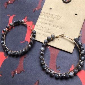 NWT Anthropologie Dark Bead Hoop Earrings